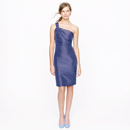 Petite Lucienne one-shoulder dress in silk taffeta