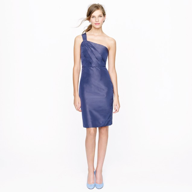 Lucienne one-shoulder dress in silk taffeta
