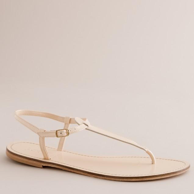 Dauphine patent T-strap sandals
