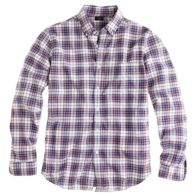 Oxford plaid shirt in royal navy