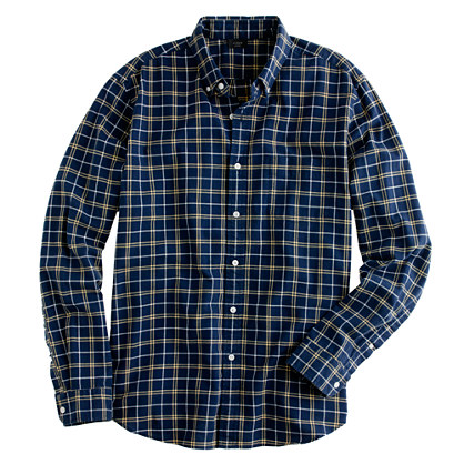 Tall oxford plaid shirt in hawthorne yellow