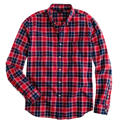 Oxford plaid shirt in leaf red