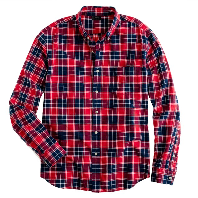 Oxford plaid shirt in leaf red