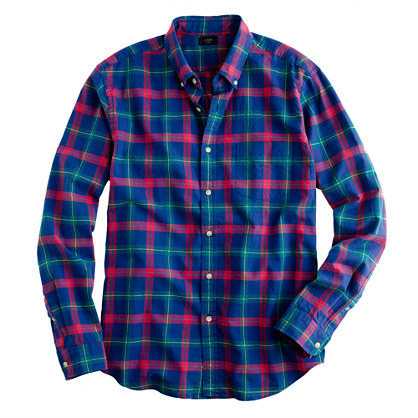 Oxford Plaid Shirt In Vintage Cobalt Oxford Plaid J Crew