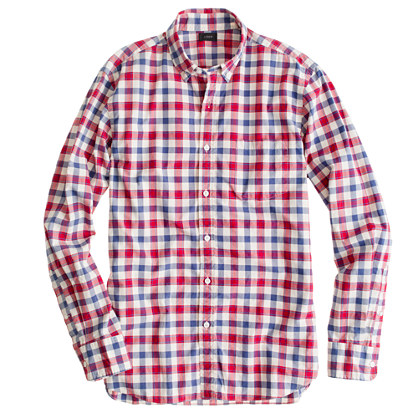Slim Secret Wash shirt in Danbury red check