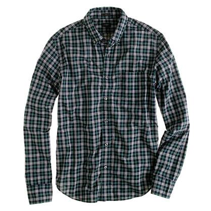 Slim heather plaid shirt in dark ivy