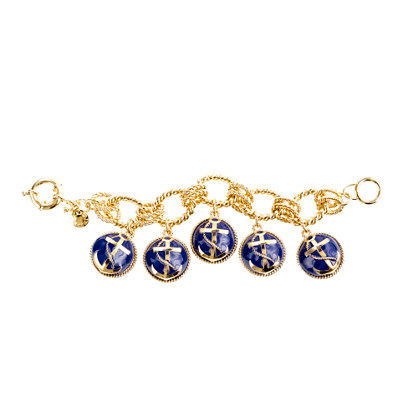 Anchor bead charm bracelet