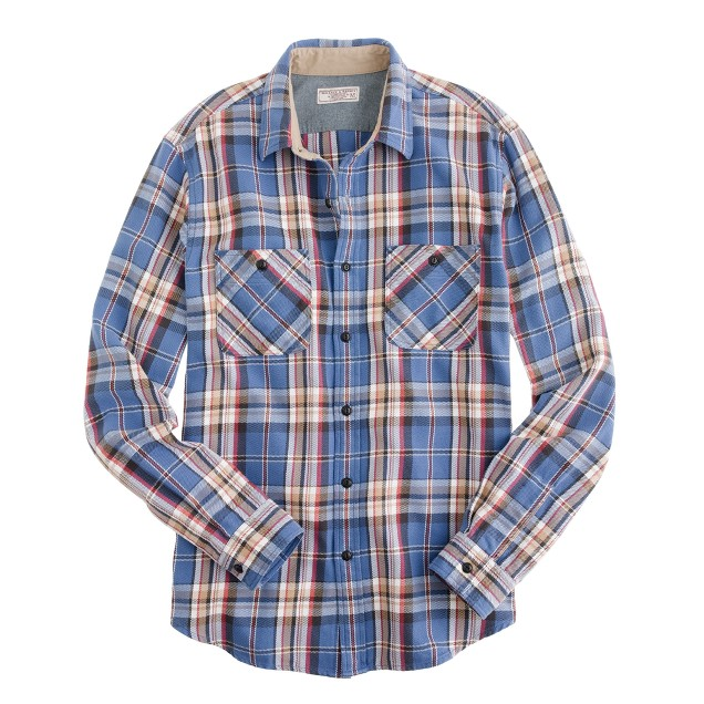 Wallace & Barnes heavyweight flannel shirt in blue plaid