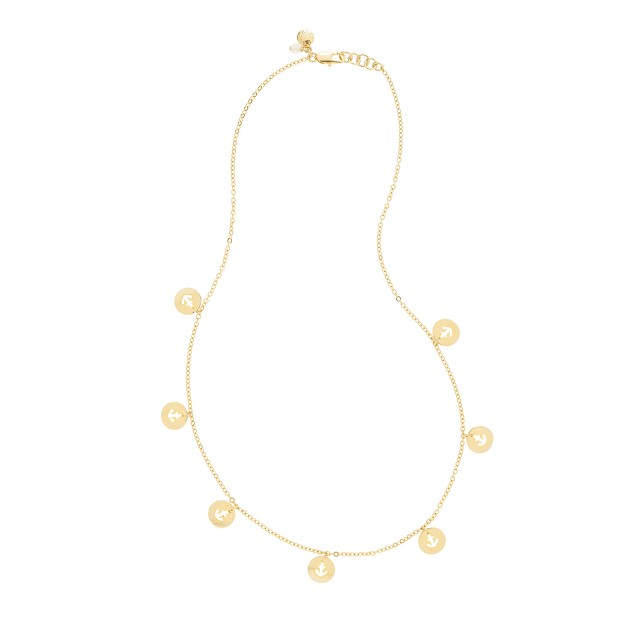 Girls' gold anchors necklace