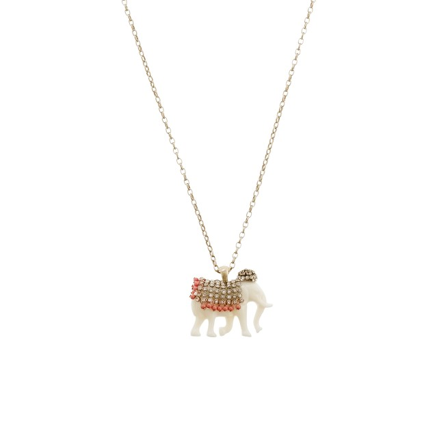Jeweled elephant pendant necklace