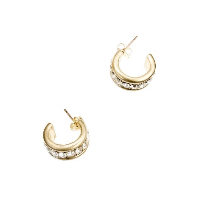 Crystal tiny hoop earrings