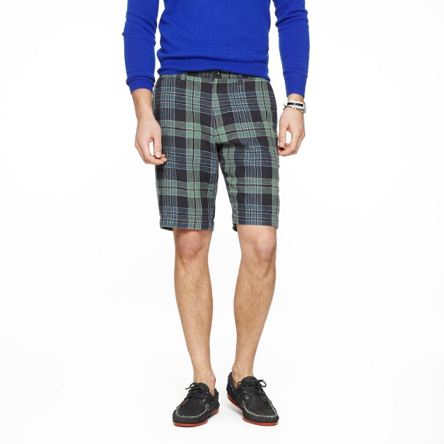 "11"" club short in plaid linen"