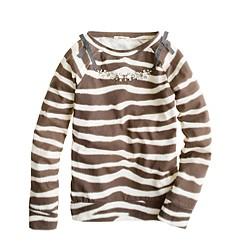 Girls' long-sleeve necklace tee in zebra stripe