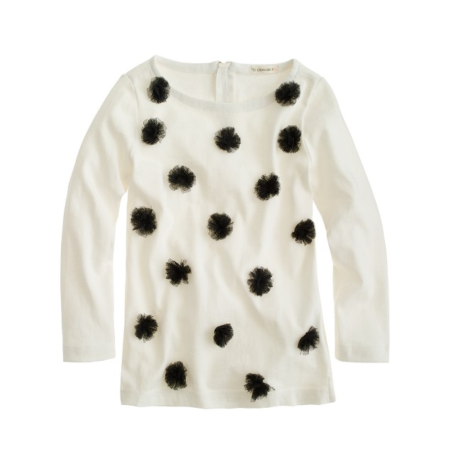 Girls' long-sleeve tulle dot tee