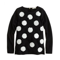 Girls' long-sleeve paillette polka-dot tee