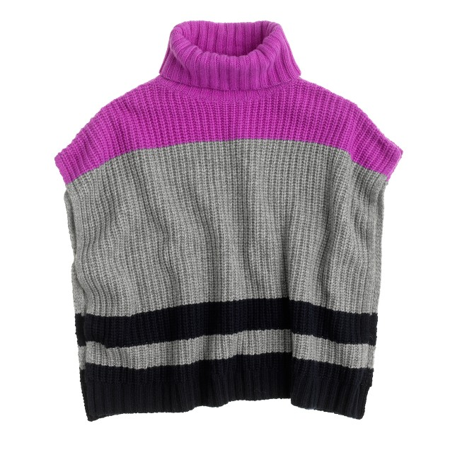 Girls' stripe sweater poncho