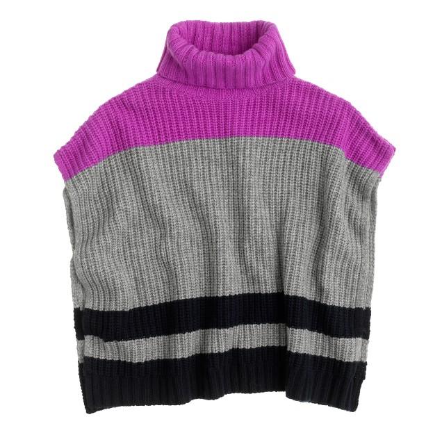 Girls' stripe sweater poncho