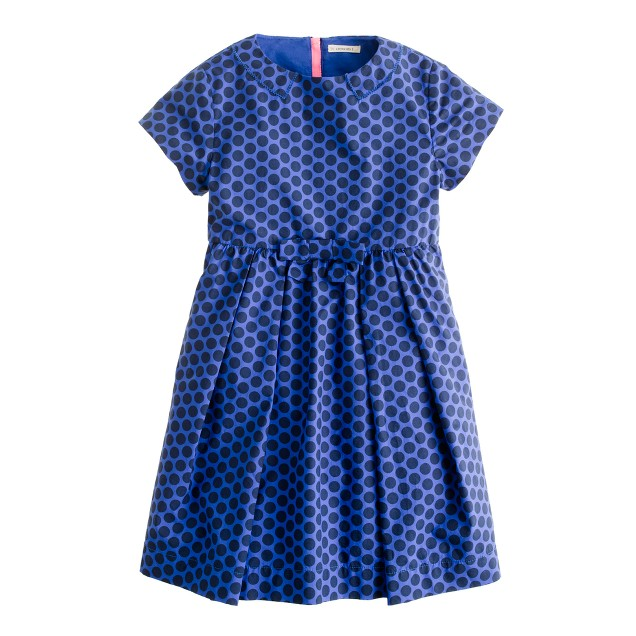 Girls' back-zip dot dress