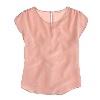 Silk shirred-sleeve top