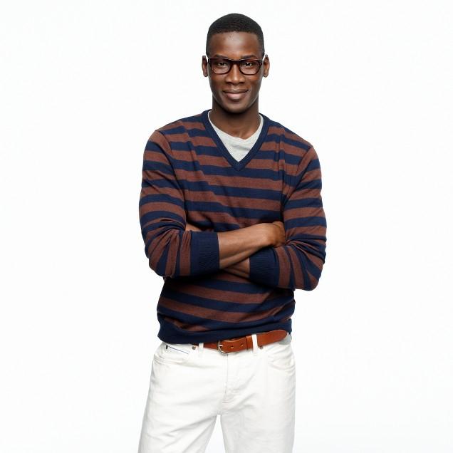 Merino V-neck sweater in medium-stripe