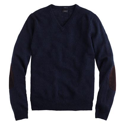 Slim rustic merino V-neck elbow-patch sweater