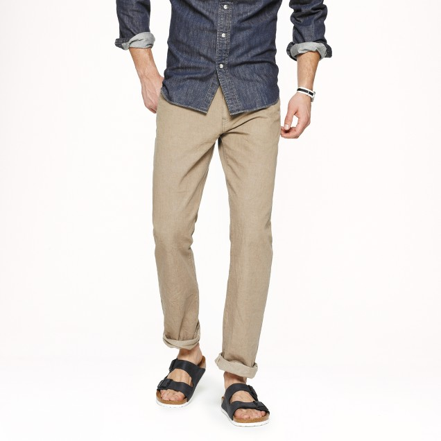 Slim-straight selvedge jean in rinsed khaki