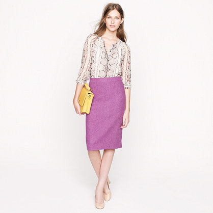 Petite No. 2 pencil skirt in herringbone