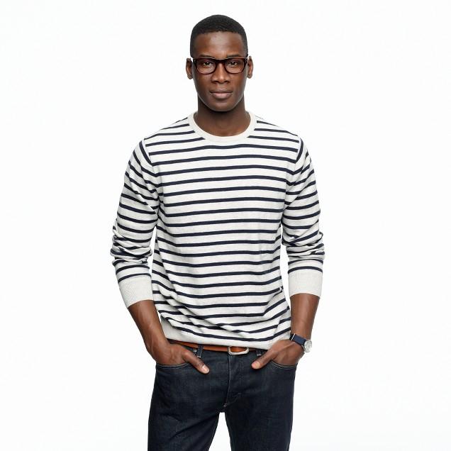 Cotton-cashmere crewneck sweater in stripe
