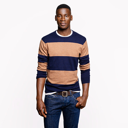 Cotton-cashmere sweater in heather acorn stripe