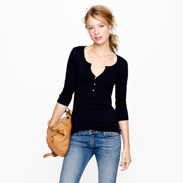 Perfect-fit henley with gold buttons
