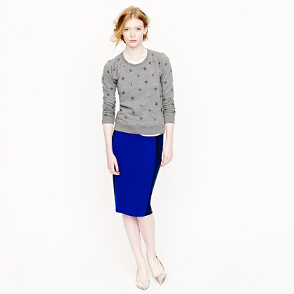 Sweater pencil skirt in colorblock