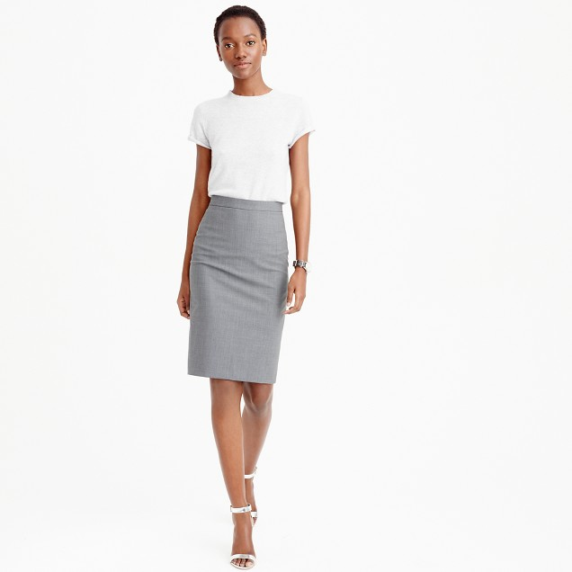 Petite pencil skirt in Italian stretch wool