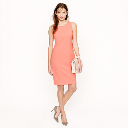 Sleeveless shift dress in stretch wool