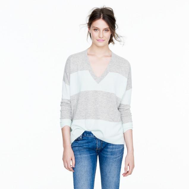 Collection cashmere boyfriend sweater in colorblock