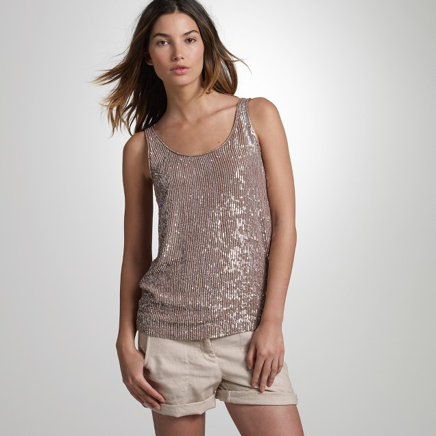 Sequined georgette tank