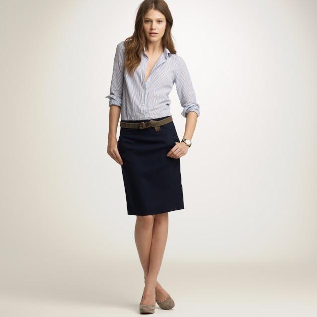 Pencil skirt in wool gabardine