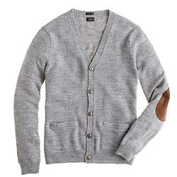 Slim rustic merino elbow-patch cardigan sweater