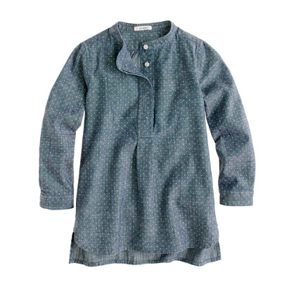 Girls' chambray pindot tunic