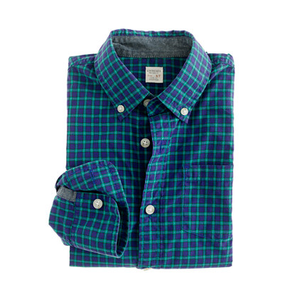 Boys' Secret Wash shirt in wild blue tartan