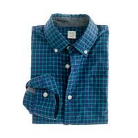 Boys' Secret Wash shirt in wild blue tartan