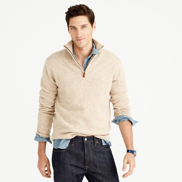 Tall lambswool half-zip sweater