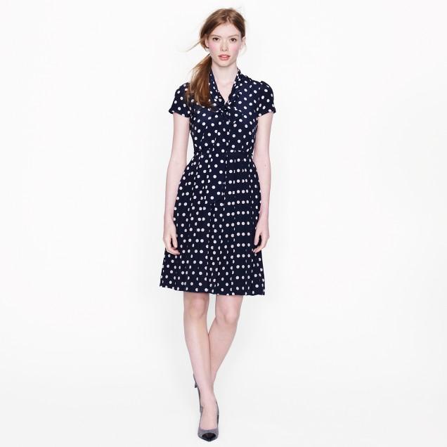 Polka-dot tie-neck dress