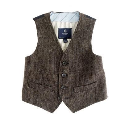 Boys' olive herringbone vest