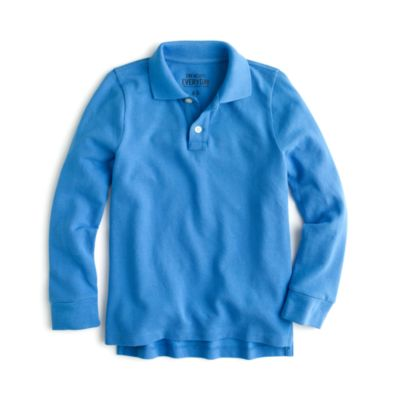 Boys' long-sleeve piqué polo shirt