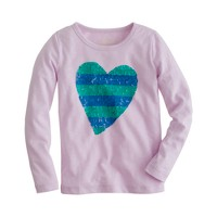 Girls' long-sleeve stripe sequin heart tee