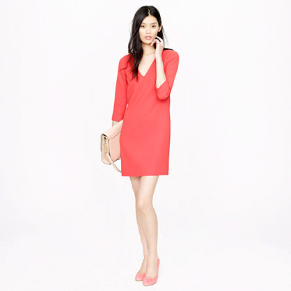 Wool crepe V-neck dress