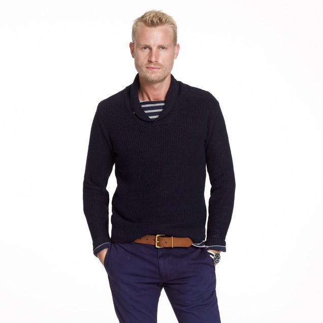Linen-cotton shawl-collar sweater