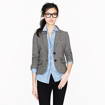 Elbow-patch schoolboy blazer in houndstooth