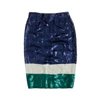 Collection No. 2 pencil skirt in colorblock sequin