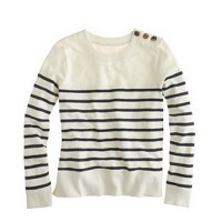 Tortoise-button sweatshirt in stripe